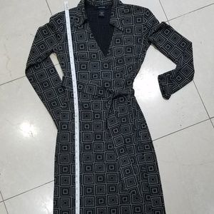 Express Black & White Geometric Wrap Around Dress
